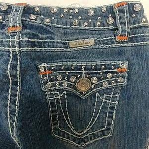 LA IDOL Bling Rivets Thick Stitch Jeans Size 7